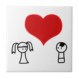 愛落書きのかわいい男の子そして女の子 タイル