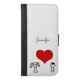 愛落書きのかわいい男の子そして女の子 iPhone 6/6S PLUS ウォレットケース