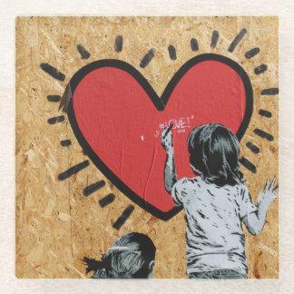 愛落書きの壁 ガラスコースター