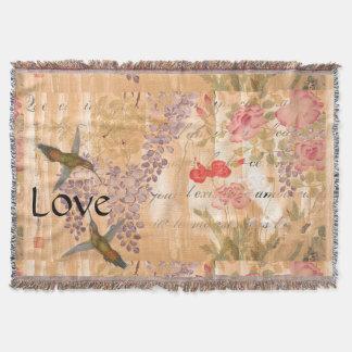 愛詩の日本のな藤のバラの花の花柄 スローブランケット