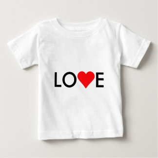 愛赤いハートのバレンタインデー ベビーTシャツ