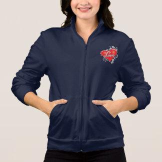 愛赤いハートの女性のフリーストラックジャケット
