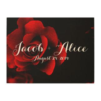 愛赤いバラのロマンスの木製のキャンバス ウッドウォールアート