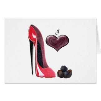 愛赤い小剣靴およびチョコレート芸術 カード