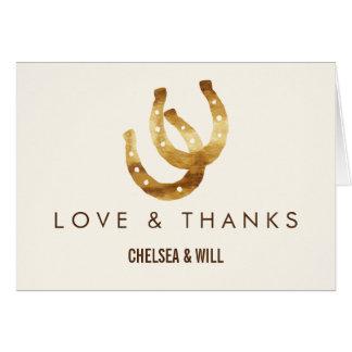愛蹄鉄の結婚式のサンキューカードで幸運 カード