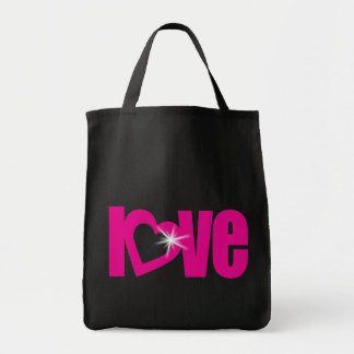 愛輝きのピンク及び黒いトートバック トートバッグ