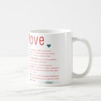 愛辞書定義タイポグラフィのハート コーヒーマグカップ