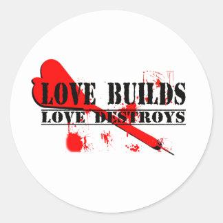 愛造り、愛は破壊します 丸形シール・ステッカー