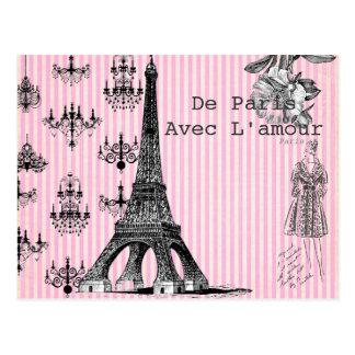 愛郵便はがきが付いているパリから、 ポストカード
