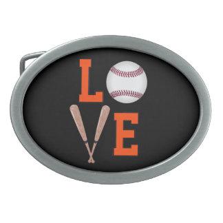 愛野球(オレンジ及び黒) 卵形バックル