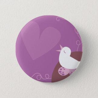 愛野鳥観察の歌う愛ハートの紫色 5.7CM 丸型バッジ