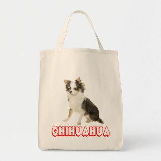 愛長い毛のチワワの小犬のトートバック トートバッグ