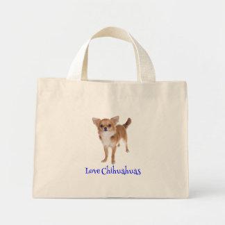 愛長い毛のチワワの小犬のトートバック ミニトートバッグ