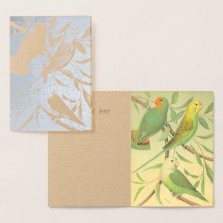 愛鳥およびインコ-銀 箔カード