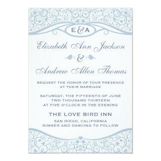 愛鳥のつる植物パターン結婚式招待状 カード
