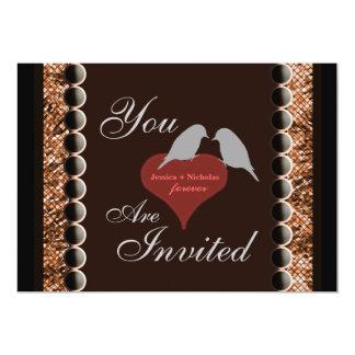 愛鳥のハートのブラウンの結婚式招待状 カード