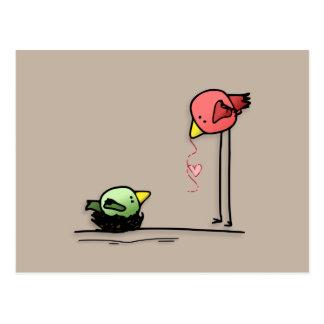 愛鳥のハートの漫画のベビー家族みみず ポストカード