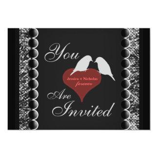 愛鳥のハートの白黒結婚式の招待 カード