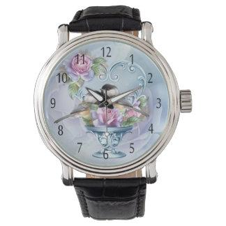 愛鳥のバレンタインの腕時計、黒い革バンド 腕時計