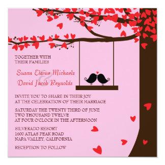 愛鳥の下るハートのオークの木の結婚式の招待 カード