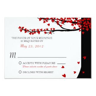 愛鳥の下るハートの赤い黒RSVP カード