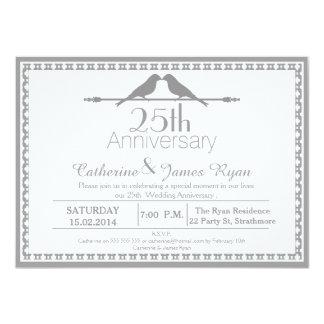 愛鳥の第25結婚記念日の招待状 11.4 X 15.9 インビテーションカード