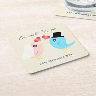 愛鳥の結婚 スクエアペーパーコースター