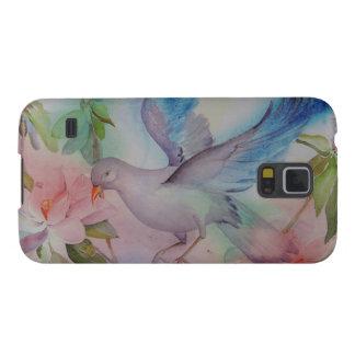 愛鳥は青およびピンクで潜りました GALAXY S5 ケース