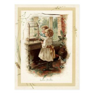 愛鳥及び子供のヴィンテージの再生 ポストカード