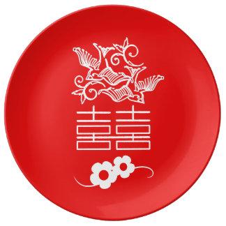 愛鳥-二重幸福-装飾的なプレート 磁器プレート