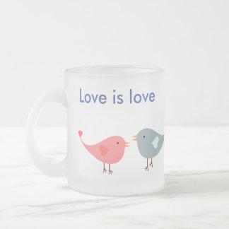 愛鳥/愛は愛です フロストグラスマグカップ