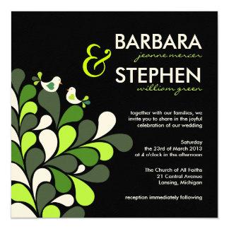 愛鳥-緑の黒いフェルトの結婚式招待状 カード