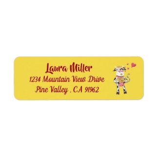 愛黄色の差出人住所ラベルの小さい牛 ラベル