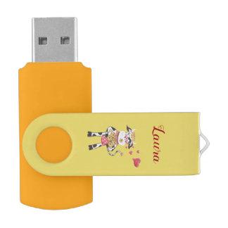 愛黄色USBの旋回装置のフラッシュドライブのSnowbell USBフラッシュドライブ