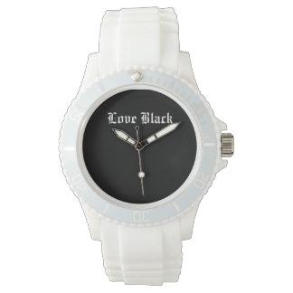 愛黒くカスタムでスポーティで白いケイ素 腕時計