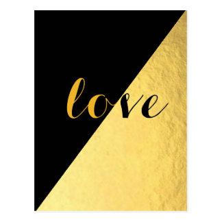 愛黒及び金ゴールド ポストカード