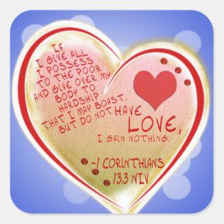 愛1 Corinthians 13: 3 NIV スクエアシール