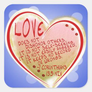 愛1 Corinthians 13: 5 スクエアシール