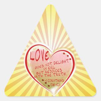 愛1 Corinthians 13: 6 NIV 三角形シール