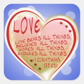 愛1 Corinthians 13: 7頭のESVくますべての事 スクエアシール