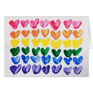 愛-おもしろいのカラフルな手塗りのハートの虹 カード