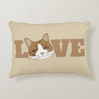 愛-かわいく幸せな微笑猫のアクセントの枕 アクセントクッション