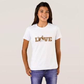愛-かわいく幸せな微笑猫のグラフィックのTシャツ Tシャツ
