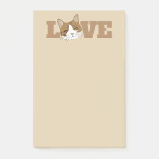 愛-かわいく幸せな猫のベージュポスト・イット ポストイット