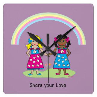 愛-すべてのための平等--を共有して下さい スクエア壁時計