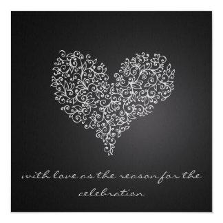 """""""愛""""の灰色の正方形の結婚式招待状 カード"""