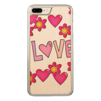 愛、ショッキングピンク CARVED iPhone 8 PLUS/7 PLUS ケース