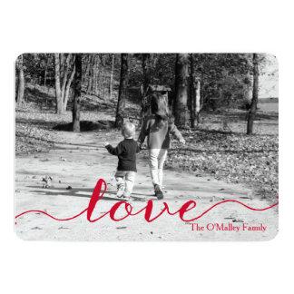 愛|シンプルで赤い原稿の写真のバレンタインデー 12.7 X 17.8 インビテーションカード
