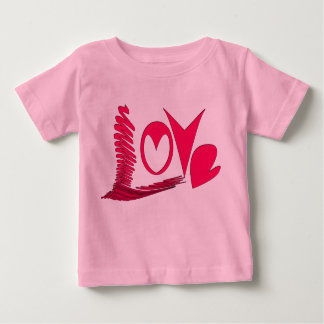 """""""愛""""、ハートのタイポグラフィ ベビーTシャツ"""
