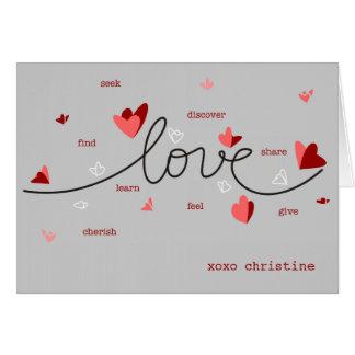 愛、ハート及び文字のユニークなバレンタイン カード